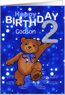 2nd Birthday Dancing Teddy Bear for Godson card