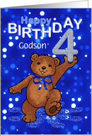 4th Birthday Dancing Teddy Bear for Godson card