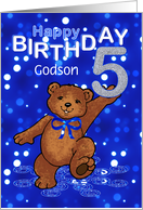 5th Birthday Dancing Teddy Bear for Godson card