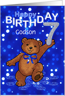 7th Birthday Dancing Teddy Bear for Godson card