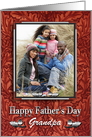 Grandpa Happy Father's Day Simulated Leather Photo Card