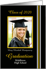 Graduation Announcement Black, Gold and White Photo Card