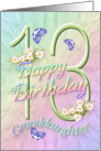 Granddaughter 13th Birthday Flowers and Butterflies card