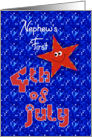 First 4th of July Smiley Star for Nephew card