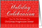 Red Lace Custom Christmas Progressive Dinner Invitation card