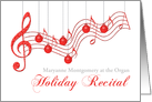 Custom Holiday Recital Invitation, Red Musical Staff card