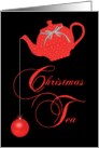Christmas Tea Invitation, Red Lace Ornaments card