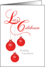 Custom Holiday Lunch Invitation, Red Lace Ornaments card