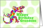 Grandson Happy Birthday Rainbow Salamander card