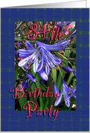 34th Birthday Party Invitation Lavender Lilies card