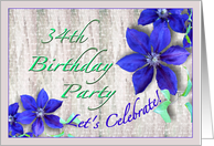 34th Birthday Party Invitation Purple Clematis card