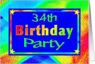 34th Birthday Party Invitation Bright Lights card