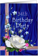 34th Birthday Party Invitation, White Rose card