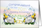 70th Wedding Anniversary White Roses card