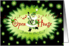 Holiday Open House Musical Santa Green Stars card