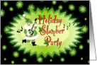 Holiday Slumber Party Green Stars and Musical Santa card