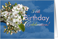 34th Birthday Party Invitation White Flower Blossoms card