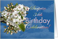 Surprise 34th Birthday Invitation with White Spring Flowers card
