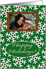 Photo Card Happy Holidays, Snow Crystals on Green card