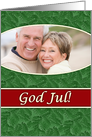 Norwegian God Jul Photo Card, Green Spruce and Red Stripe card