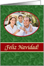 Spanish Navidad Photo Card, Green Spruce and Red Stripe card