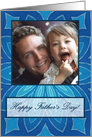 Happy Father's Day Photo Card, Blue Mandala card