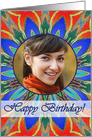 Happy Birthday Photo Card, Blaze Orange Blue Mandala card