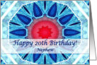 Happy 20th Birthday for Nephew, Blue Aqua and Red Mandala card