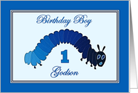 Happy 1st Birthday for Godson, Blue Caterpillar Collage card