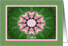 Hebrew Thank you, Pink Hearts Mandala and Green card