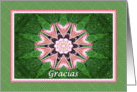 Spanish Thank you, Pink Hearts Mandala and Green card