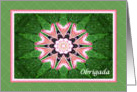 Portuguese Thank you, Pink Hearts Mandala and Green card
