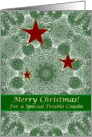 Christmas Double Cousin Red Stars Green Spruce Mandala card