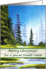 Christmas for Double Cousin, Spruce Forest Painting card