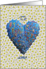 Spanish Te Amo, Blue Heart and Daisies card
