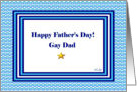 Father's Day for Gay Dad, Gold Star and Blue card