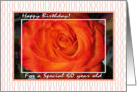 Happy Birthday for a 60 Year Old, Blaze Rose and Stripes card
