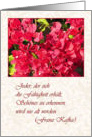 German Birthday, Red Bougainvilleas with Kafka Twist card