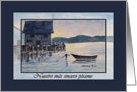 Spanish Sympathy, Blue Anchored Boat Painting card