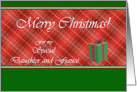 Christmas for Daughter and Fiance, Gift Box and Red Tartan card