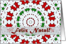 Portuguese Christmas, Red and Green Stars Mandala card