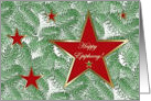 Happy Epiphany, Five Red Stars on Spruce card