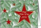 Happy New Year 2014, Five Red Stars on Spruce card