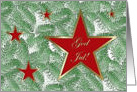 Christmas in Norwegian, Five Red Stars on Spruce card