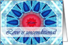Love is Unconditional, Blue Aqua and Red Mandala card