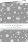 Parents Merry Christmas Card - Aqua Grey Snowflakes card