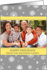 Photo Happy Holidays Christmas Card - Yellow Grey Snowflakes card