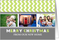 3 Photo Merry Christmas We've Moved Card - Grey Green Chevron card