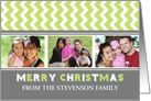 3 Photo Merry Christmas Card - Grey Green Chevron card