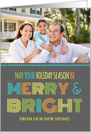 Photo Merry & Bright We've Moved Christmas Card - Colorful Modern card